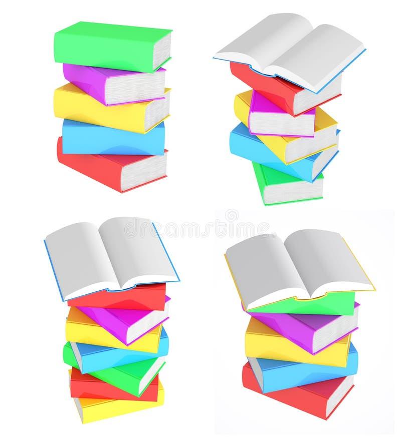 Ställ in bilder av buntar av mångfärgade böcker stock illustrationer