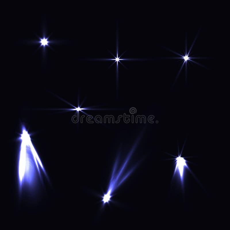 Ställ in blått för ljusa effekter ljusa på mörk bakgrund Magisk collecti vektor illustrationer
