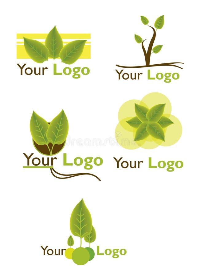 Ställ in bladlogoen stock illustrationer