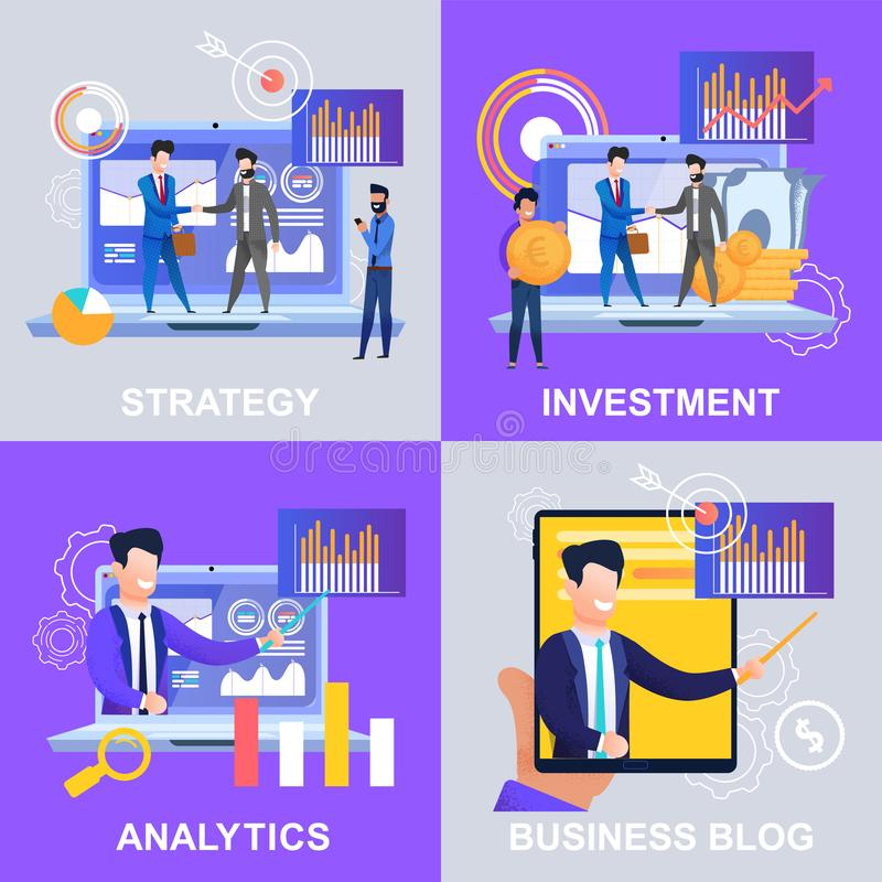 Ställ in bloggen för den Strategy Analytics investeringaffären stock illustrationer
