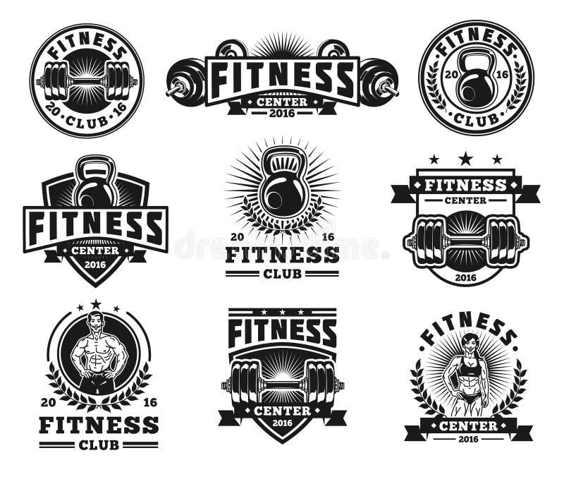 Ställ in bodybuildingemblem, klistermärkear som isoleras på vit stock illustrationer