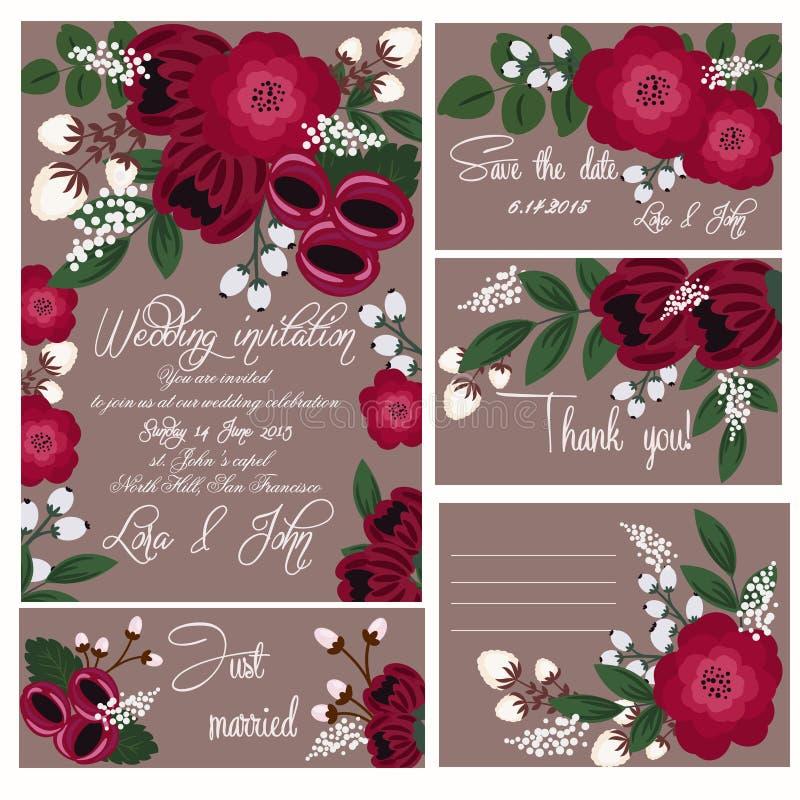 ställ in bröllop royaltyfri illustrationer