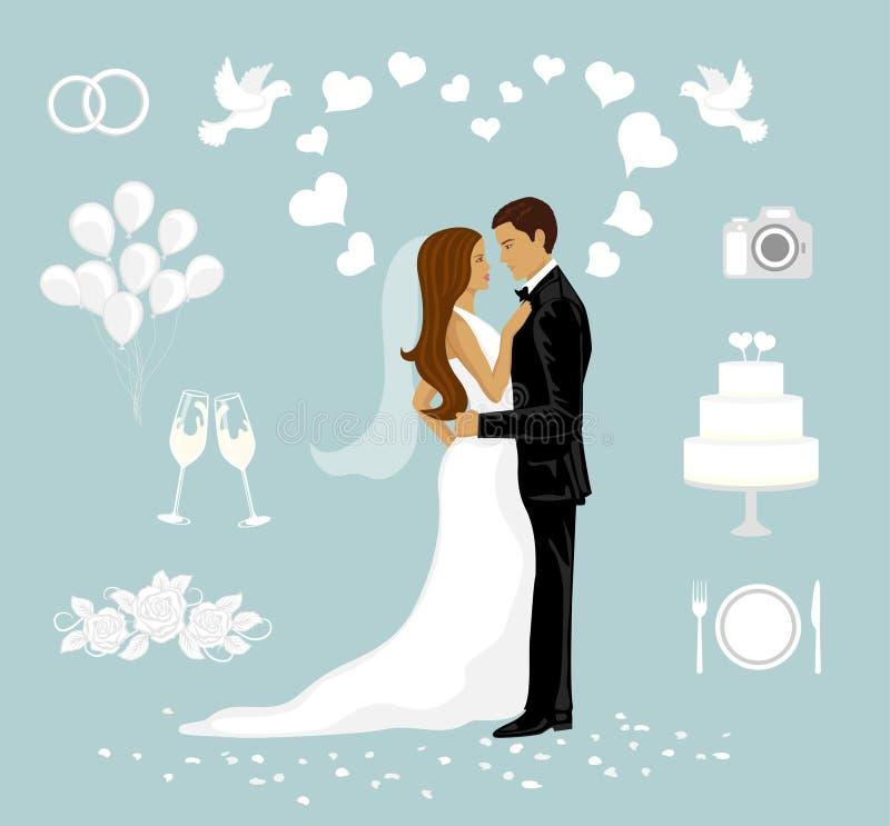 ställ in bröllop vektor illustrationer