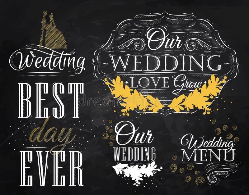 Ställ in bröllopsymboler. Krita stock illustrationer