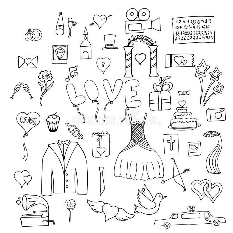 Ställ in bröllopsymboler och tecken vektor illustrationer
