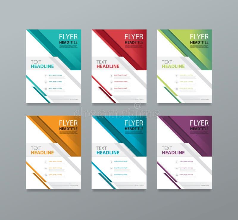 Ställ in broschyrmalldesignen redigerbart boktidskrifträkning vektor illustrationer