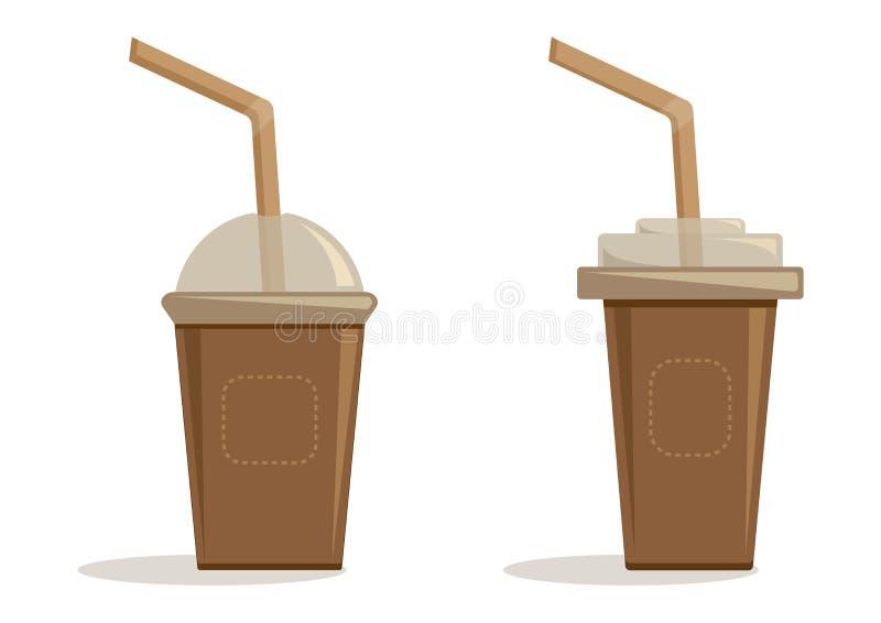 Ställ in bruna pappers- koppar med det plast- locket och sugrör för kaffe, te, cappuccino, espresso vektor royaltyfri illustrationer
