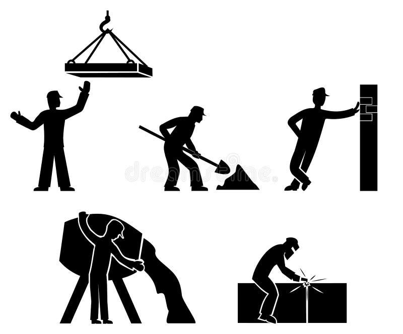 Ställ in byggmästareöversiktsvektorn stock illustrationer