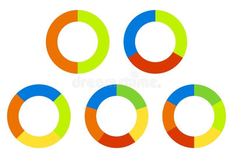 Ställ in cirkeldiagram, grafer i 2,3,4,5,6 segment Segmenterade cirklar royaltyfri illustrationer