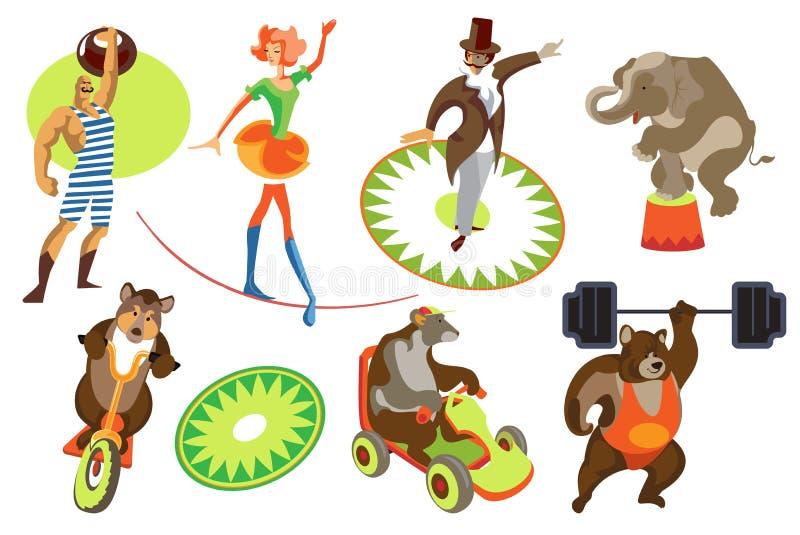 Ställ in cirkusen vektor illustrationer