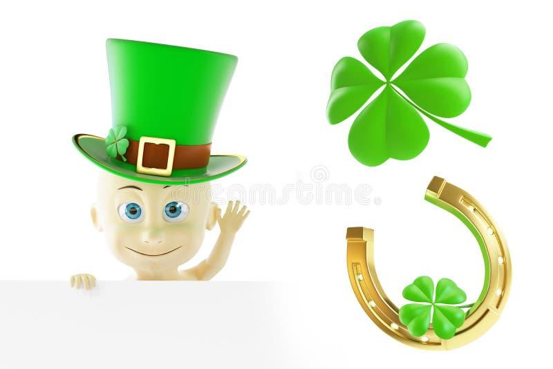 Ställ in dagen för St Patrick ` s illustration 3d royaltyfri illustrationer