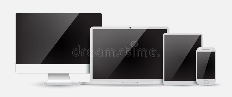 Ställ in den datorbildskärmen, bärbara datorn, minnestavlan och mobiltelefonen vektor illustrationer