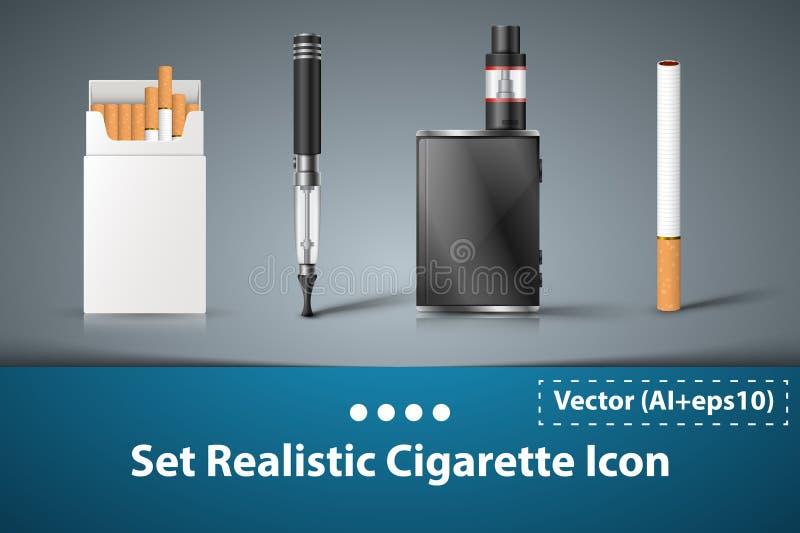 Ställ in den elektroniska symbolen för cigaretten stock illustrationer
