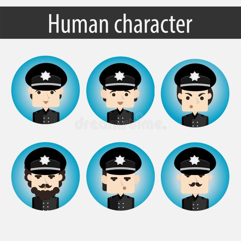 Ställ in den europeiska teckenpolisen för män stock illustrationer