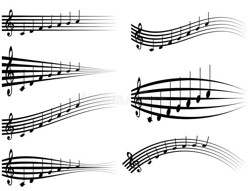 Ställ in den musikaliska personalen, olika musikaliska anmärkningar på notsystem, vektorillustrationdistorsion av anmärkningarna  vektor illustrationer