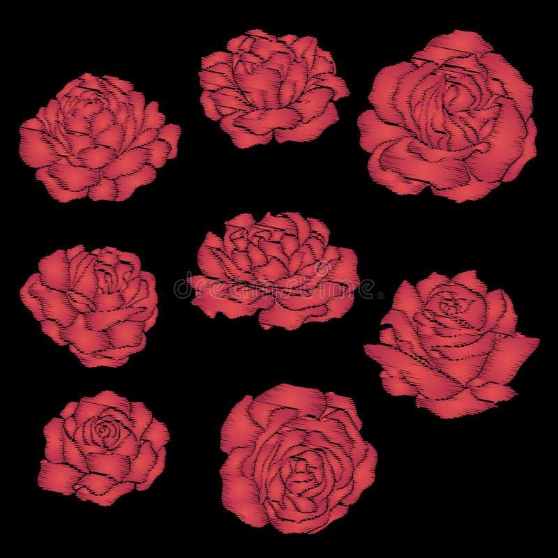 Ställ in den röda rosen för broderi på svart bakgrund Materiellinje vektor stock illustrationer