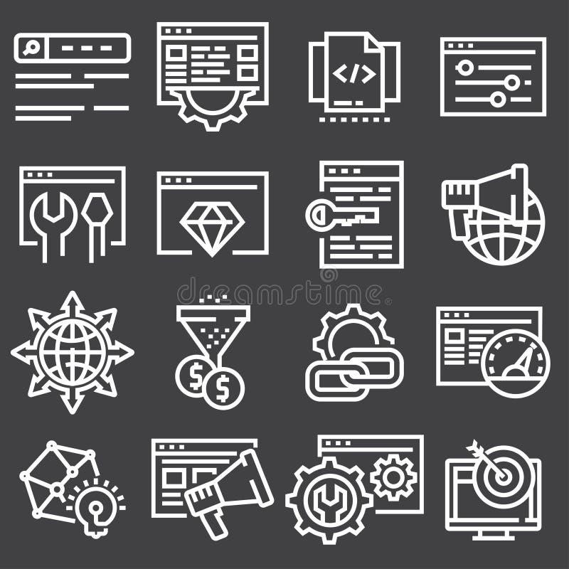 Ställ in den SEO Search Engine Optimisation Elements symbolsillustrationen royaltyfri illustrationer