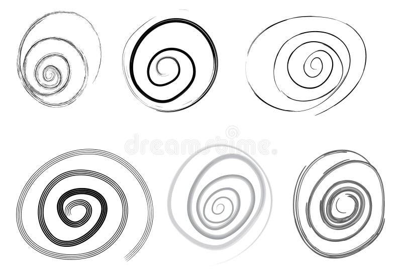 ställ in den spiral vektorn vektor illustrationer
