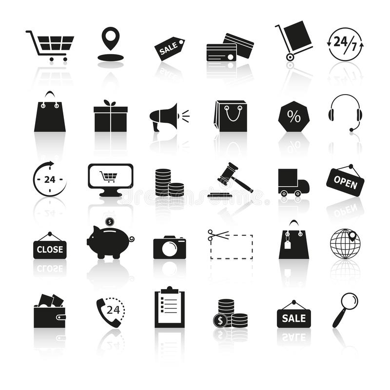 Ställ in den svarta symbolsreflexionen för shopping vektor illustrationer
