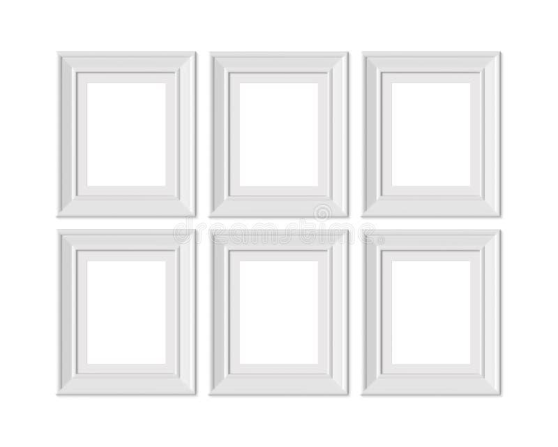Ställ in den vertikala för bildramen för ståenden 6 4x5 modellen Inrama som är mattt med breda gränser Realisitc pappers-, trä el stock illustrationer