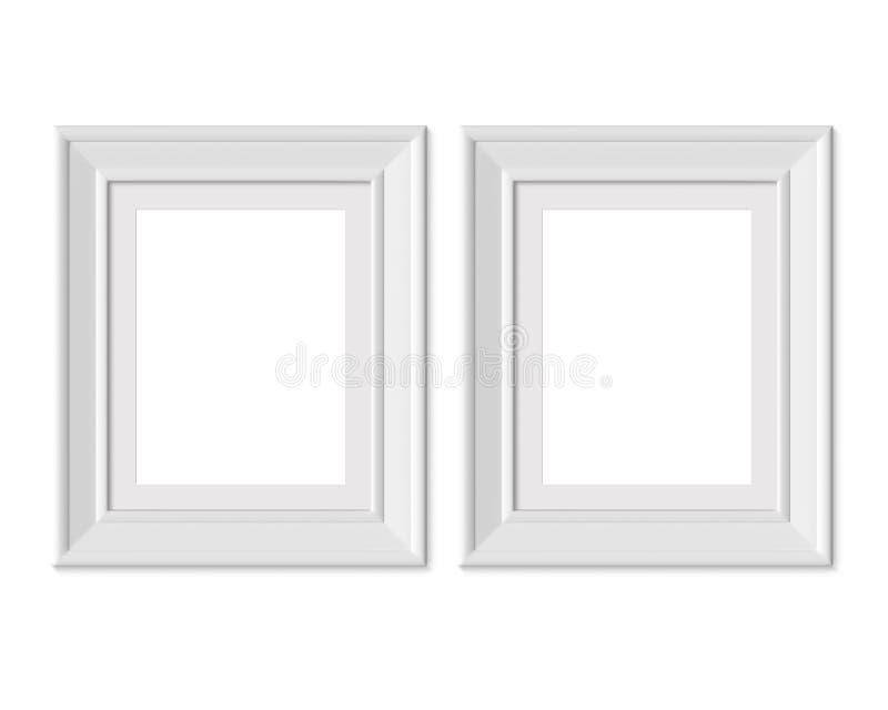 Ställ in den vertikala för bildramen för ståenden 2 4x5 modellen Inrama som är mattt med breda gränser Realisitc pappers-, trä el royaltyfri illustrationer