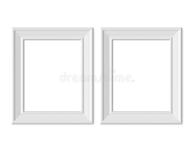 Ställ in den vertikala för bildramen för ståenden 2 4x5 modellen Realisitc pappers-, trä eller plast- vitt mellanrum Isolerad aff stock illustrationer