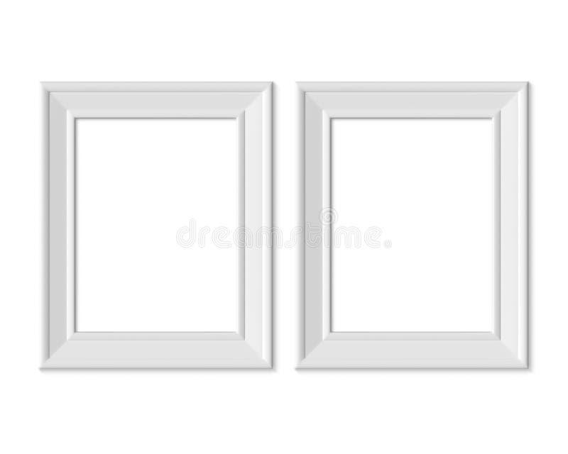 Ställ in den vertikala för bildramen för ståenden 2 3x4 modellen Realisitc pappers-, trä eller plast- vitt mellanrum Isolerad aff vektor illustrationer