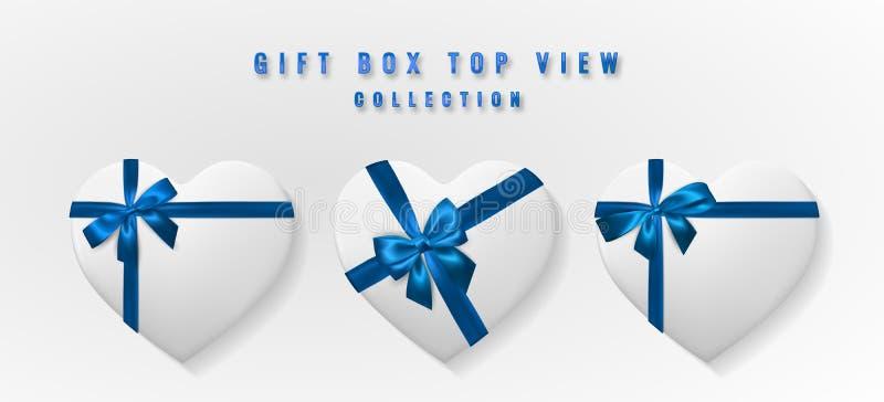 Ställ in den vita asken för hjärtaformgåvan med bästa sikt för pilbåge och för band Beståndsdel för garneringgåvor, hälsningar, f stock illustrationer