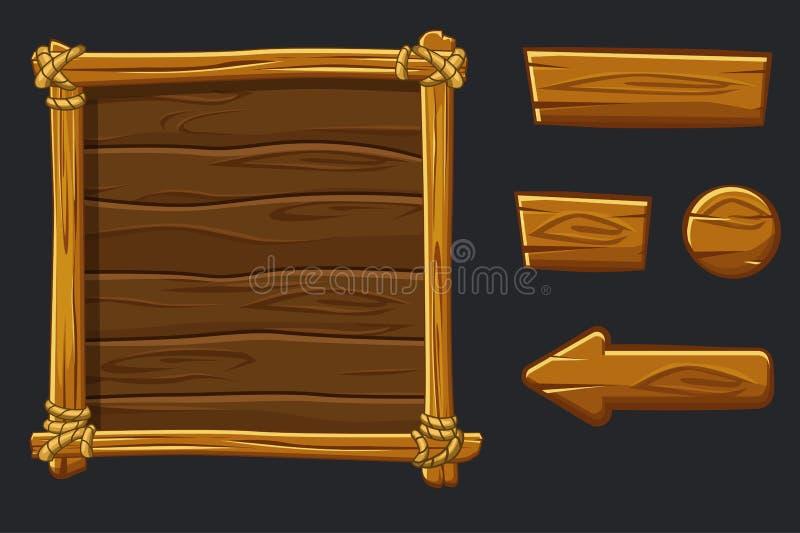Ställ in den wood tillgångar, manöverenheten och knappar för tecknad film för den Ui leken vektor illustrationer