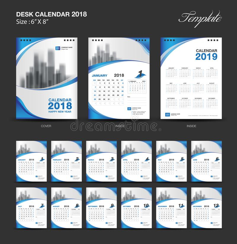 Ställ in designen 2018, blåtträkningen, uppsättningen för mallen för skrivbordkalendern av 12 månader vektor illustrationer