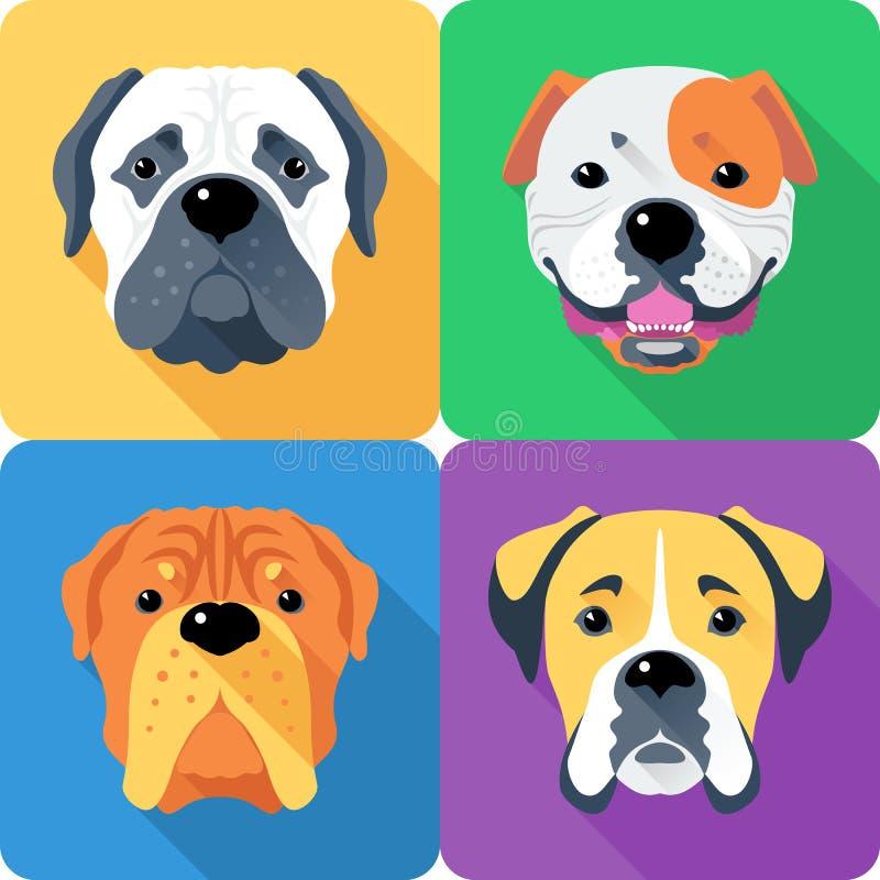 Ställ in designen för lägenheten för symbolen för hundhuvudet stock illustrationer