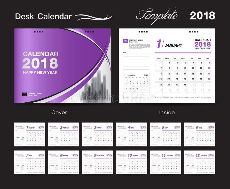 Ställ in designen 2018, lilaräkning för mallen för skrivbordkalendern stock illustrationer