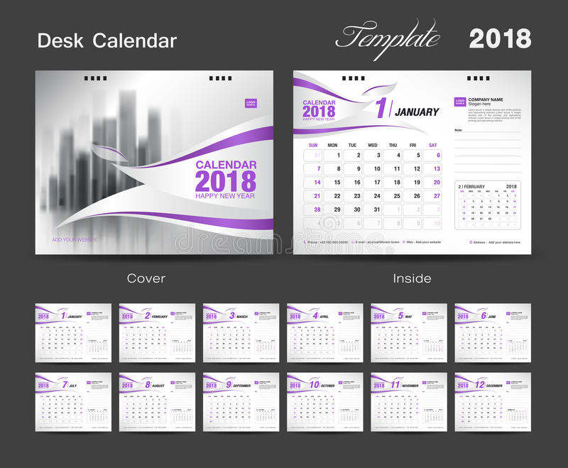 Ställ in designen 2018, lilaräkning för mallen för skrivbordkalendern royaltyfri illustrationer