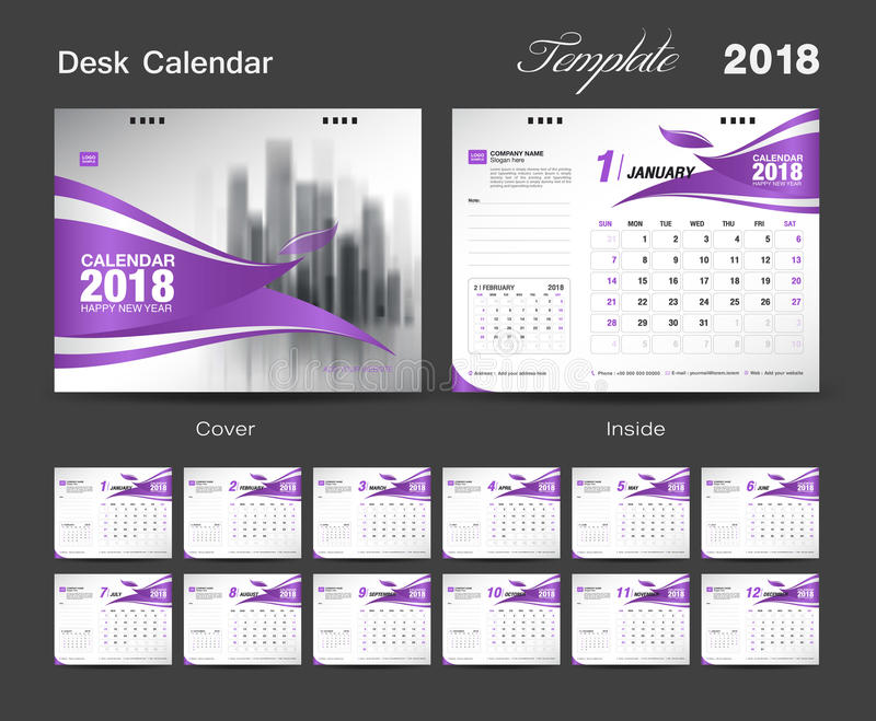 Ställ in designen 2018, röd räkning för mallen för skrivbordkalendern vektor illustrationer