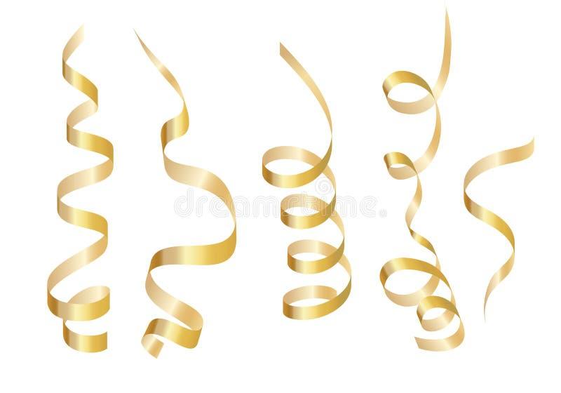 Ställ in det guld- lockiga bandet slingrande bakgrund isolerad white stock illustrationer