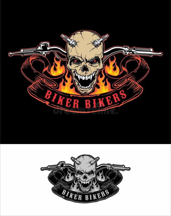 Ställ in det Logo Bikers Skull brandstyret vektor illustrationer