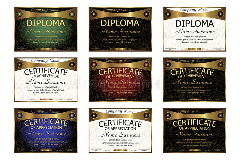 Ställ in diplomet, certifikat av gillande, prestation horizonta stock illustrationer
