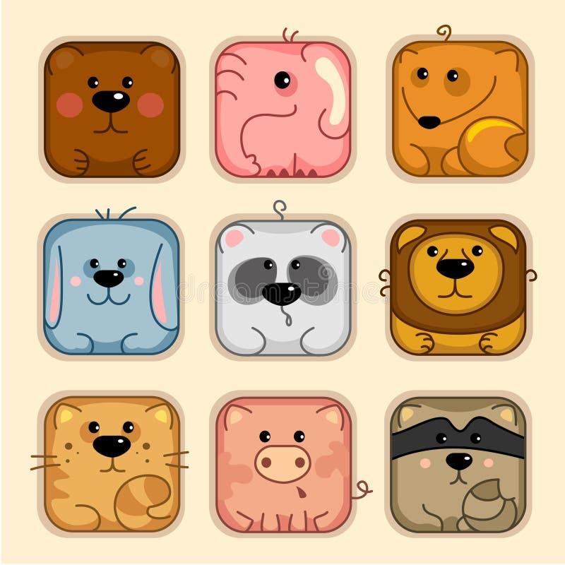 Ställ in 1, djur vektor illustrationer