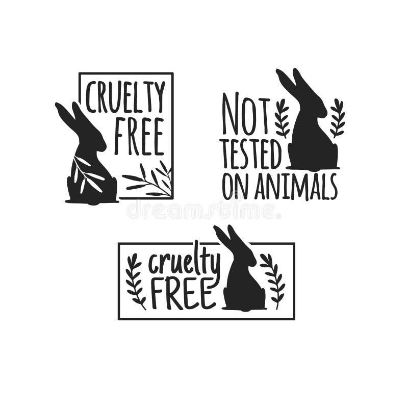 Ställ in djur logogrymhet fritt Tecken med konturkanin och blomma- och naturbladet Designstapm för produkt inte royaltyfri illustrationer