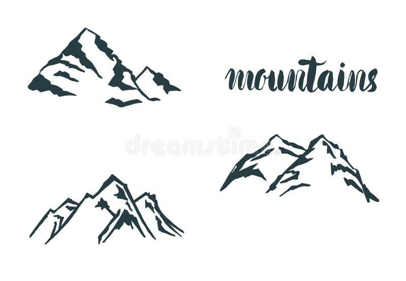 Ställ in drog logoen för berget handen Vektordesignbeståndsdel i tappningstil för logotyp, etikett, etikett, emblem och annat log royaltyfri illustrationer