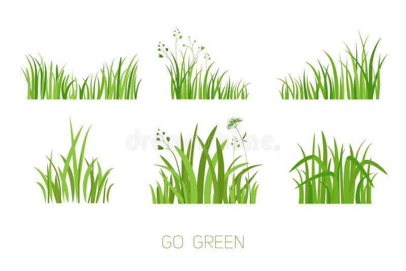 Ställ in Eco gräs vektor illustrationer