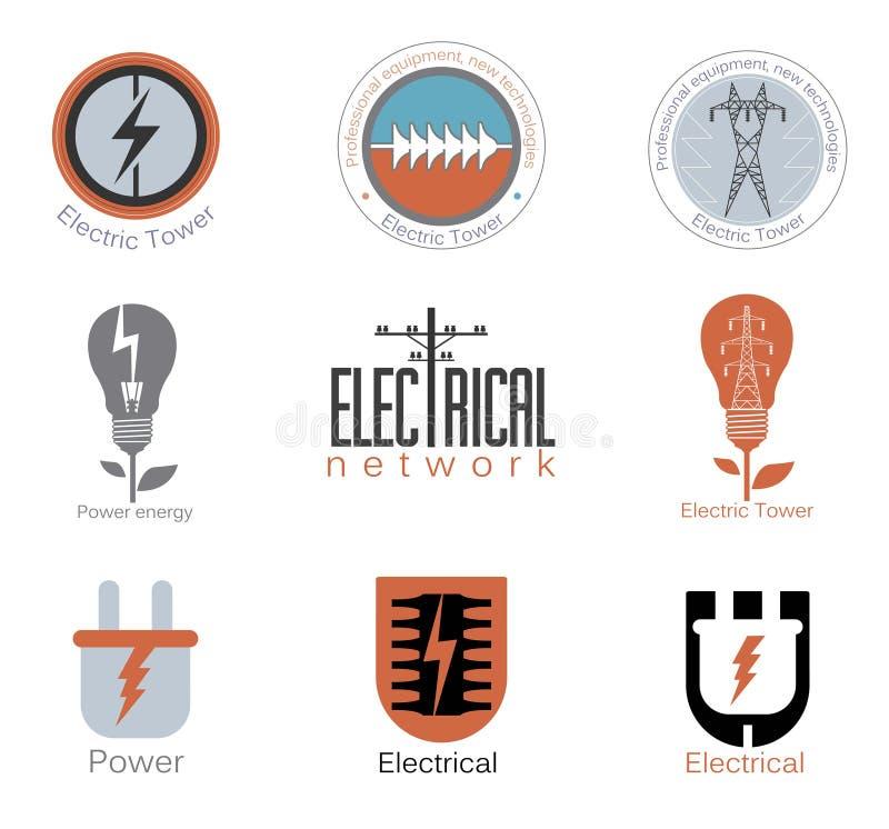 Ställ in elektricitetsvektorlogoen, etikett stock illustrationer