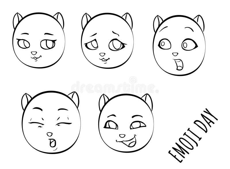 Ställ in emojiframsidor av katten royaltyfri illustrationer