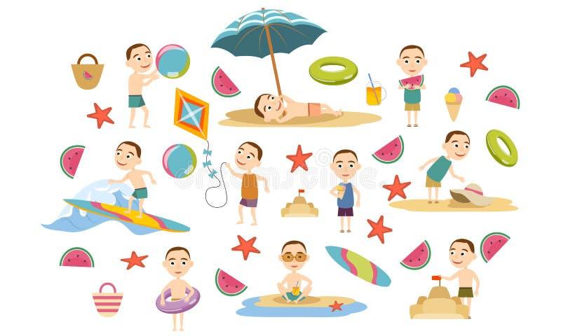 Ställ in en pojke med en kort frisyr i olikt poserar i sommarkläder och baddräkter på stranden stock illustrationer
