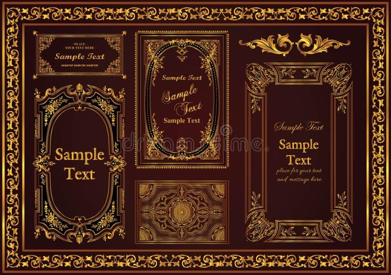 Ställ in en trevlig antik dekorativ ram för din guldfärg för extra arbete stock illustrationer