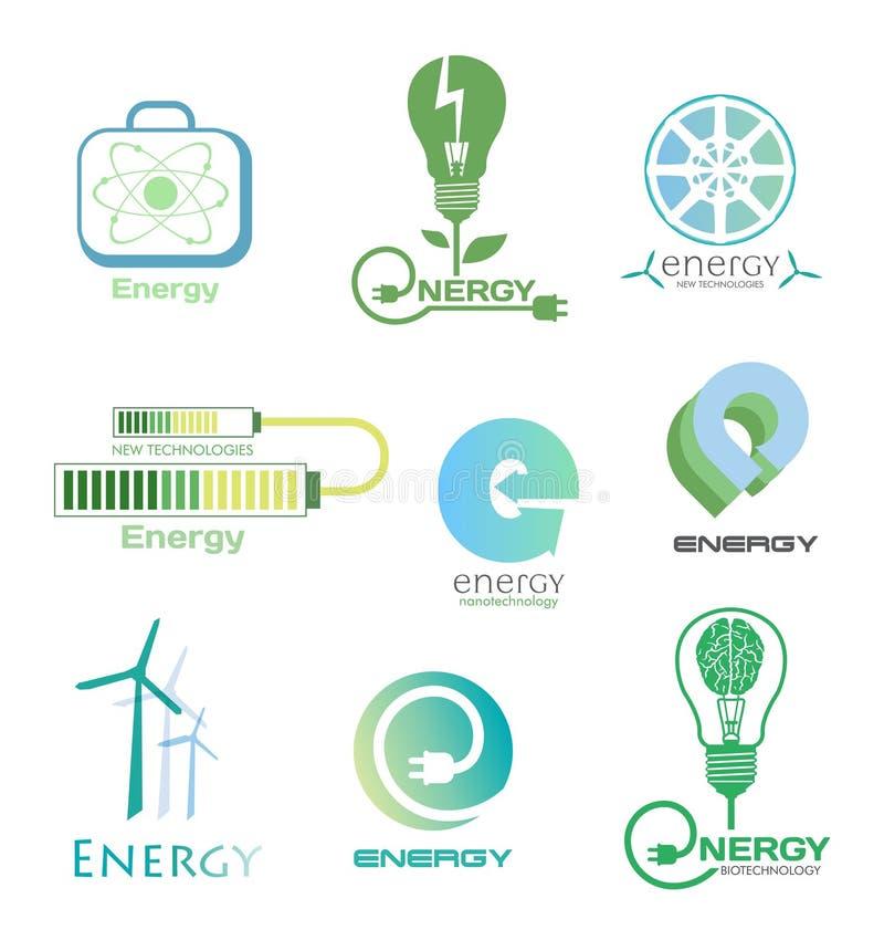 Ställ in energilogoer och emblem Planlägg beståndsdelar och symboler av kraftverket, elektricitet, vindturbinen, atomen, ekologib vektor illustrationer