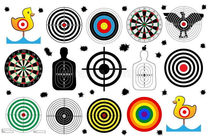 Ställ in ett mål för skjutbana, kulhål, vektor royaltyfri illustrationer