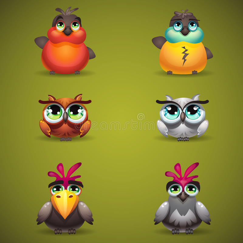 Ställ in fåglar samlar för att spela i rad magisk skog tre stock illustrationer