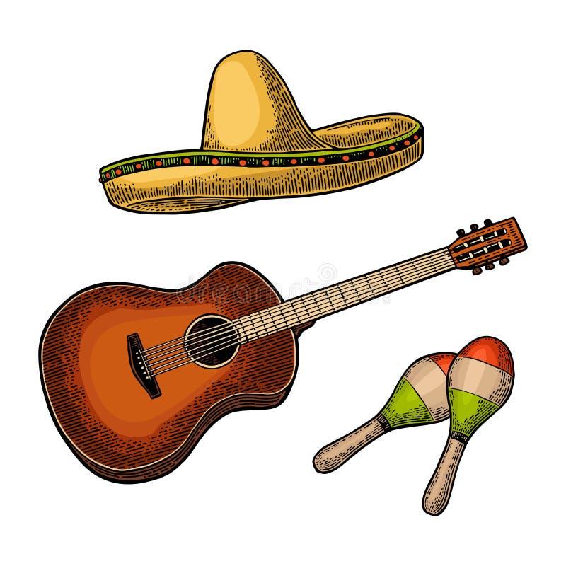 Ställ in för affischmexikankarneval Gitarr, maracas och sombrero vektor illustrationer