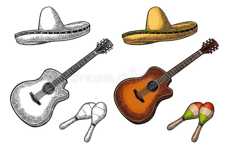 Ställ in för affischmexikankarneval Gitarr, maracas och sombrero royaltyfri illustrationer